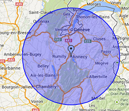 Zones d'intervention Ramonage Annecy et Annemasse - Haute-Savoie